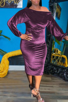 Pink Purple Sexy Solid Split Joint Off the Shoulder One Step Skirt Dresses