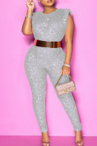 Silver Fashion Solid Sequins O Neck Plus Size Sleeveless Jumpsuits (Without Belt)
