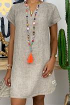 Grey Fashion Casual Solid Split Joint V Neck Lantern Skirt Dresses