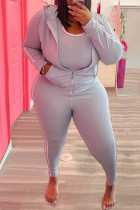 Grey Casual Solid Split Joint Zipper Hooded Collar Plus Size Two Pieces