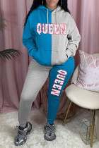 Blue Casual Letter Print Split Joint Pocket Hooded Collar Long Sleeve Two Pieces