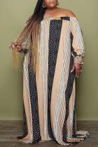 Khaki Casual Striped Print Split Joint Off the Shoulder Straight Plus Size Dresses