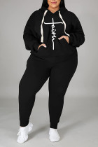 Black Casual Print Split Joint Hooded Collar Plus Size Two Pieces