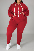 Red Casual Print Split Joint Hooded Collar Plus Size Two Pieces