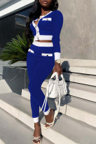 Blue Casual Solid Buckle O Neck Long Sleeve Two Pieces