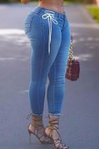 Medium Blue Casual Solid Bandage Split Joint High Waist Regular Denim Jeans