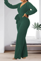 Ink Green Casual Solid Split Joint V Neck Straight Jumpsuits