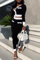 Black Casual Solid Buckle O Neck Long Sleeve Two Pieces
