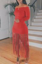 Red Casual Solid Tassel Split Joint Off the Shoulder A Line Dresses