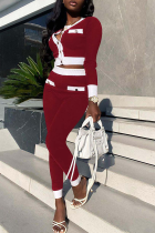 Red Casual Solid Buckle O Neck Long Sleeve Two Pieces