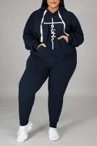 Blue Casual Print Split Joint Hooded Collar Plus Size Two Pieces