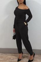 Black Casual Solid Split Joint Oblique Collar Regular Jumpsuits