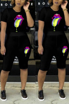 Colourful Lips Black Casual Two-piece Set