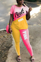 Casual Letter Printed Pink Short Sleeve Two-piece Set