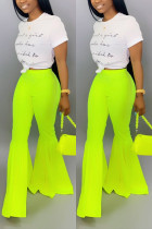 Fashion Casual Fluorescent Green Flared Pants