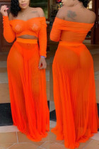 Pleated Perspective Sexy Orange Two-piece set