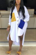 Fashion Shirt Stitching Pocket White Dress