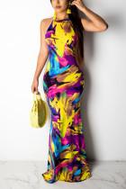 Sexy Fashion Rainbow Color Sleeveless Dress