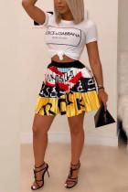 Sweet Printed Yellow Pleated Short Skirt