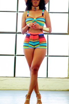 Fashion Sexy Color Stripe Two-piece Swimsuit