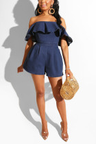 Sexy Fashion Ruffled Wrapped Chest Denim Hide Blue Romper