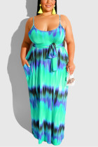Sexy Print With Belt Straight Strap Blue Dress