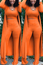 Sexy Solid Tight-Fitting Pure Knit Orange Three Piece Suit