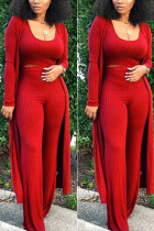 Sexy Solid Tight-Fitting Pure Knit Red Three Piece Suit