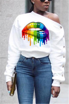 Printed Sexy Shoulder Buttoned Sleeve White Sweater