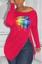 Fashion Printing Long Sleeve Red Irregular T-Shirt