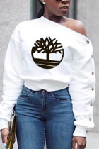 Fashion Long Sleeve Oblique Collar White T-Shirt Top