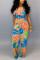 Sexy Fashion Printed Orange Sling Jumpsuit