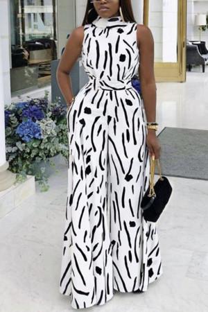 Fashion Sleeveless Printed White Wide Leg Jumpsuit
