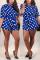 Fashion Sexy Printed Blue Short Sleeve Romper