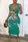 Green Fashion Sexy Celebrities Tank Sleeveless Spaghetti Strap Sheath Mid Calf Character Dresses