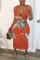 Red Fashion Sexy Celebrities Tank Sleeveless Spaghetti Strap Sheath Mid Calf Character Dresses