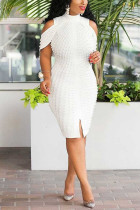 White Fashion Sexy Off The Shoulder Sleeveless Mandarin Collar Pencil Skirt Knee Length Solid Dresses