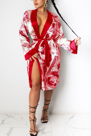 Red Sexy Print Frenulum Outerwear