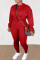 Red Casual Solid O Neck Long Sleeve Two Pieces