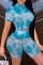 Cyan Fashion Sexy Print Tie Dye Hollowed Out See-through Half A Turtleneck Short Sleeve Two Pieces