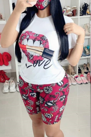 Red Milk Silk Fashion Casual Print Two Piece Suits pencil Short Sleeve Two Pieces