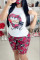 Black Milk Silk Fashion Casual Print Two Piece Suits pencil Short Sleeve Two Pieces