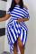 Blue Fashion Casual Striped Print Asymmetrical Oblique Collar Short Sleeve Dress Plus Size Dresses