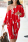 Red Casual Print Split Joint One Shoulder Long Sleeve Two Pieces