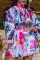 Multi-color Fashion Work Daily Print Mandarin Collar Long Sleeve Mini Dresses(Without Belt)