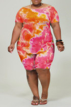rose red Casual O Neck Print Tie Dye Pattern Plus Size