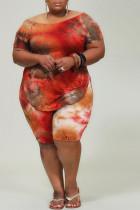 tangerine Casual O Neck Print Tie Dye Pattern Plus Size