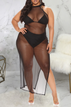 Black Sexy Solid Split Joint Mesh Swimwears Cover Up