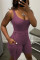 Purple Casual Solid Backless O Neck Sleeveless Skinny Jumpsuits