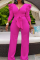 Rose Red Casual Solid Flounce V Neck Boot Cut Jumpsuits